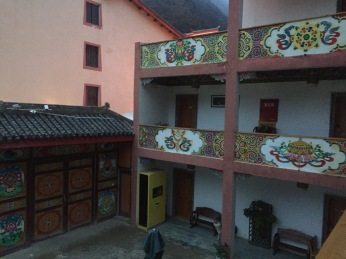 Our beautifully colored hotel featuring Tibetan artwork.