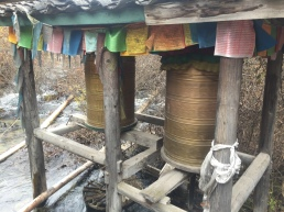 Water powered prayer wheels.